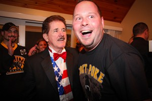 Rene Rancourt makes it a real party with the birthday boy.