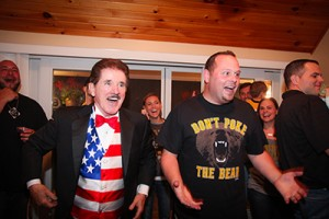 Rene Rancourt singing with the birthday boy.