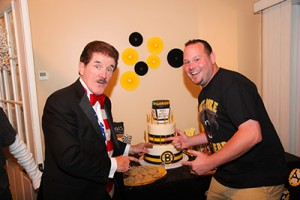 Rene Rancourt hugging the birthday boy.