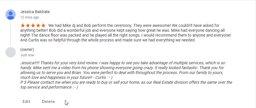 Jessica's 5 Star Google Review pf Mike and Bob - DJ and JP from CKE.