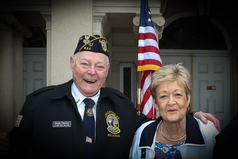 Town of Billerica Memorial Day Celebration. Marie O'Rourke standing with George Eversman who is recognized for his years of service to our country.