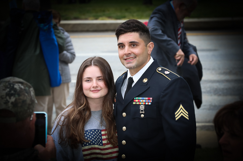 Town of Billerica Memorial Day Celebration. This photo is of one our proud service members standing with his daughter