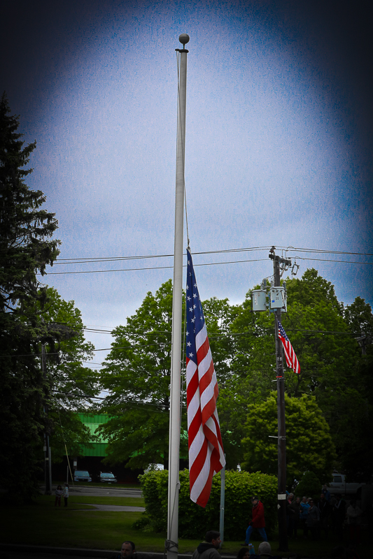 Town of Billerica Memorial Day Celebration. Our magnificent flag flying 1/2 staff to honor our fallen heroes.